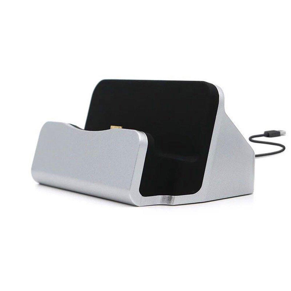 Ezüst színű asztali micro USB töltő