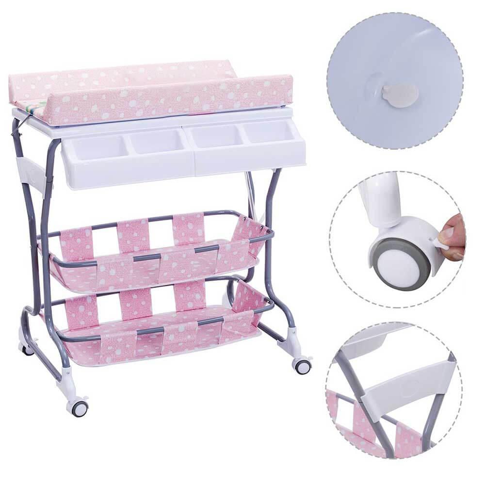 Baba fürdető állvány fékezhető kerekekkel, rózsaszín