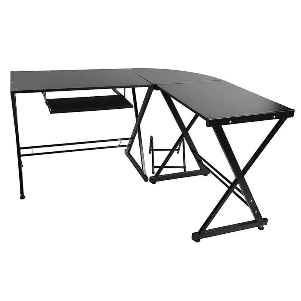 Fekete L alakú íróasztal
