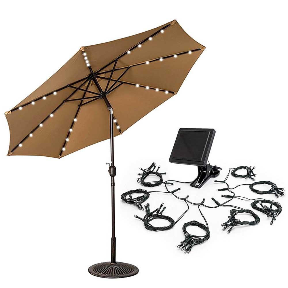 szolár fényfüzér napernyőkhöz